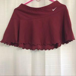 Nike Vintage Burgundy Ruffled Tennis Mini Skirt
